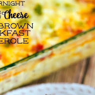 Overnight Ham and Cheese Hashbrown Breakfast Casserole.
