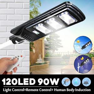 Lampa solara stradala 90W, 120 LED, senzor de miscare si lumina, telecomanda