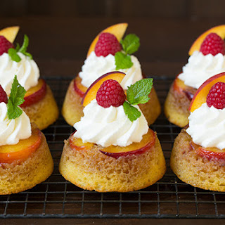 Cornmeal Peach Upside Down Cupcakes