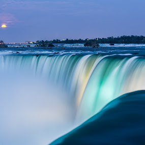 Niagara Falls Super Moon by James Wheeler - Landscapes Waterscapes ( nobody, moon, smooth, can, waterfall, vibrant, travel, landscape, lights, nature, dramatic, slow, pristine, top, water, rush, canada, speed, majestic, tourism, ontario, leisure, destination, vacation, niagara falls, outdoor, falls, shutter, scenery, natural, outside, river )