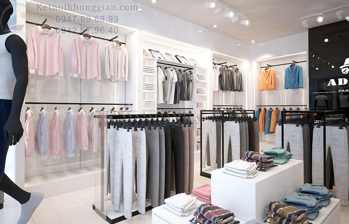 thiết kế shop thời trang nam sử dụng tông màu kinh điển