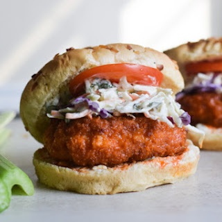 Buffalo Chicken Burgers with Blue Cheese Slaw Recipe