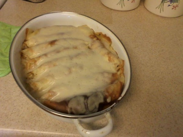 mix all ingredients and fill crepes, roll like enchiladas and place in a casserole...