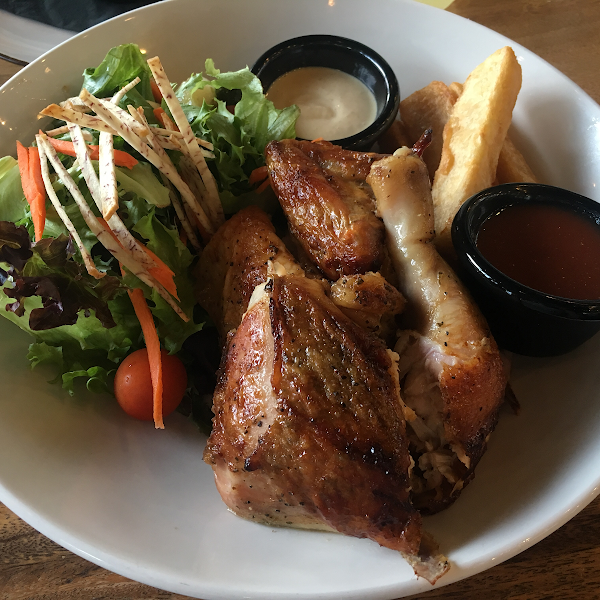 Rotisserie chicken with yuca fries and salad. Yuca fries are not GF but I don't have to worry about cross-contamination.