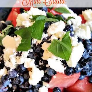 Watermelon Salad with Blueberries, Mint and Feta Cheese.