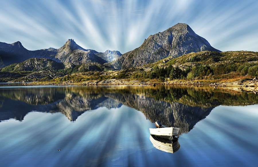 by Bente Agerup - Landscapes Mountains & Hills ( hills, mountains, nature, boats, reflections )
