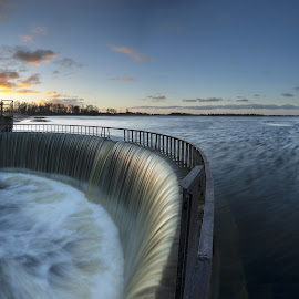 Lake Dam by Eugenijus Rauduve - Landscapes Sunsets & Sunrises ( spring, lake, down, morninh )