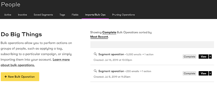 Complete bulk operations page