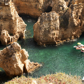 Ponta da Piedade by Steve Weston - Landscapes Caves & Formations ( clear, blue, boats, sea, rocks )