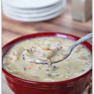 Slow Cooker Creamy Wild Rice and Chicken Soup.