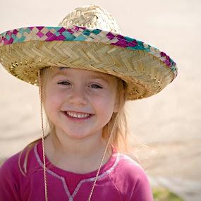 Adeline with her new Sombrero  by Jeanine Akers - Babies & Children Child Portraits ( little girl, sombrero, children, smiles, hat )