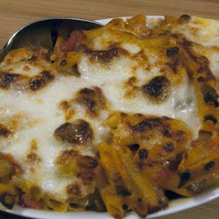 Sausage/Cheese/Tomatoes Baked with Penne Pasta