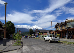 Photo: Pucon, a small tourist town in the Lake District, is dominated by Villaricca, an active volcano