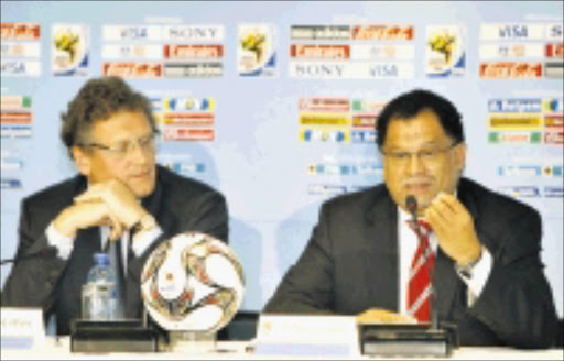 HEAD HONCHOS Jerome Valcke- FIFA General Secretary, left, and CEO of the LOC Danny Jordaan, during the 500 days to kickoff press conference. 24/01/2009. Pic. Chris Ricco.  © Backpagepix
