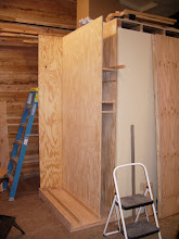 """Photo: The two dividers are 3/4"""" ACX plywood. The back, top, and right (wall) side are shop-grade 3/4"""" ACX. The shop-grade stuff is actually only 5/8"""" thick."""