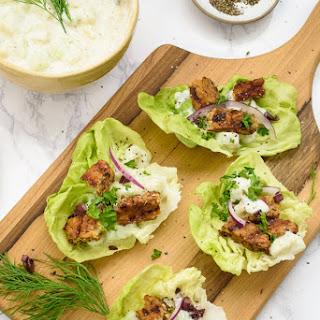 Tempeh Gyro Lettuce Wraps With Organic Tofu Tzatzik