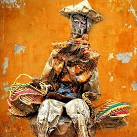 Basketman by Gaylord Mink - Digital Art People ( baskets, person, statue, wall, digital art )