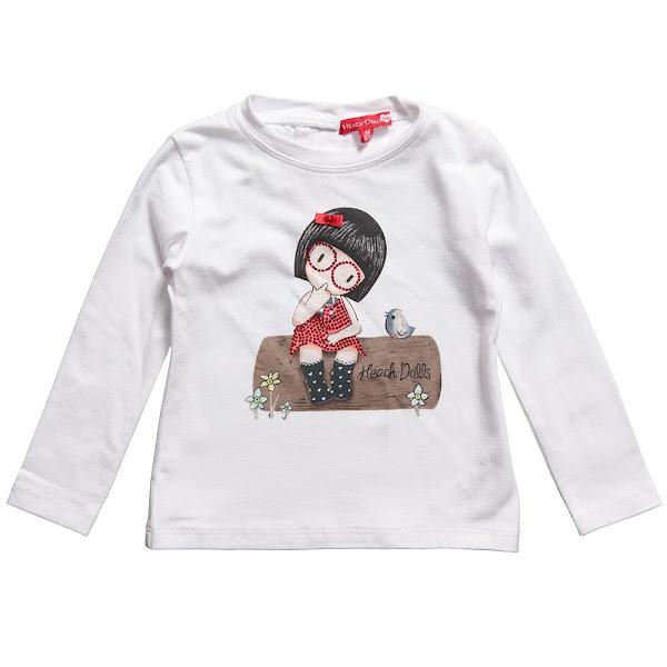 Photo: Silvian Heach  Baby Girls White Cotton T-Shirt with Girl Illustration & Diamante http://www.childrensalon.com/baby-girls-white-t-shirt-with-diamante.html  Price: £22 Size range: 6-24 months