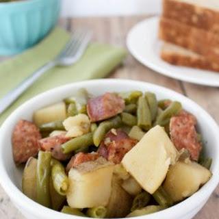 Crockpot Sausage, Potatoes, & Green Beans.
