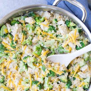 One Pot Chicken, Broccoli and Rice Casserole.