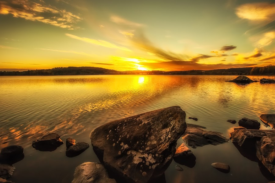 Sunset in our little village  by Rose-marie Karlsen - Landscapes Waterscapes ( clouds, nature, waterscape, sunset, rocks,  )