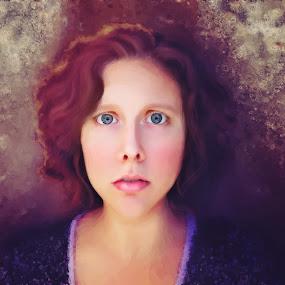 by Beth Ann - Illustration People ( girl, big eyes, painterly, self portrait )