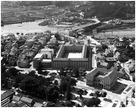 Photo: Pontevedra en 1962 Cuartel de San Fernando (Hoxe Bellas Artes) Governo Civil Fábrica de Ladrillos Ponte de ferro do ferrocarril A ría máis ampla
