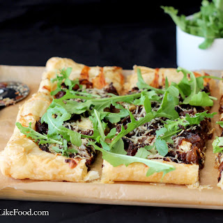 Three Cheese Caramelized Onion Tart with Arugula