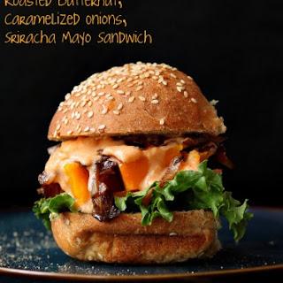 Roasted Butternut Squash Slider with Balsamic Caramelized onions, Sriracha Mayo. Vegan Sandwich