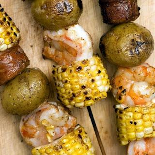 Shrimp and Sausage Kabobs.