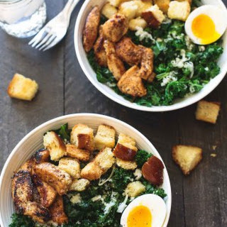 Kale Salad with Chicken, Croutons and Soft Boiled Eggs.