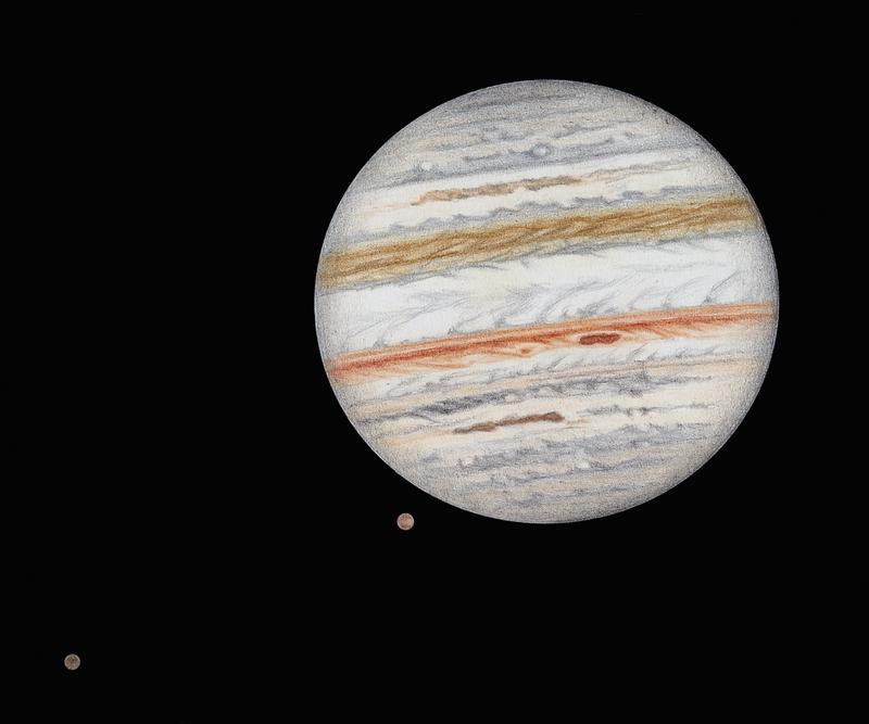 Photo: Le 2 décembre 2011 dans le C9.25 à 470X en bino, turbu correcte. Autour de 20h15 TU. Le satellite Ganymède est très proche du globe jovien, Callisto se tient plus éloigné.