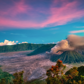great mountain of bromo by Martin Marthadinata - Landscapes Mountains & Hills ( mountain, sunset, landscape, bromo )