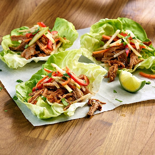 Apple Bourbon Pork Lettuce Wraps with Jicama Slaw