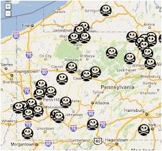 """Photo: """"FRACKING ACCIDENTS"""".US Carte...Lien vers la carte (cliquez sur les états pour voir le détail). http://earthjustice.org/features/campaigns/fracking-across-the-united-states"""