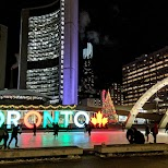 go for an evening ice skating course at Toronto's Nathan Phillips Square in Toronto, Ontario, Canada