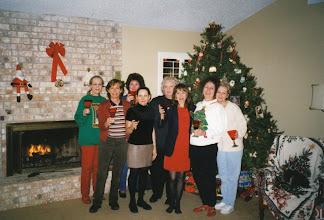 Photo: Christmas 1999 at Carol (Craven) Barnes's home. Carolyn (McGill) Hoelscher, Linda (Wilson) Mitchell, Michele (Baldree) Bibb, Nancy (Seiler) McCarthy, Rosemary (Worthy) Dooley, Carol (Craven) Barnes, Suzy (Wright) Thomas