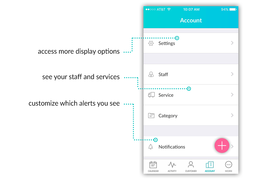 Access your staff, services, and service categories all from the new Account menu.