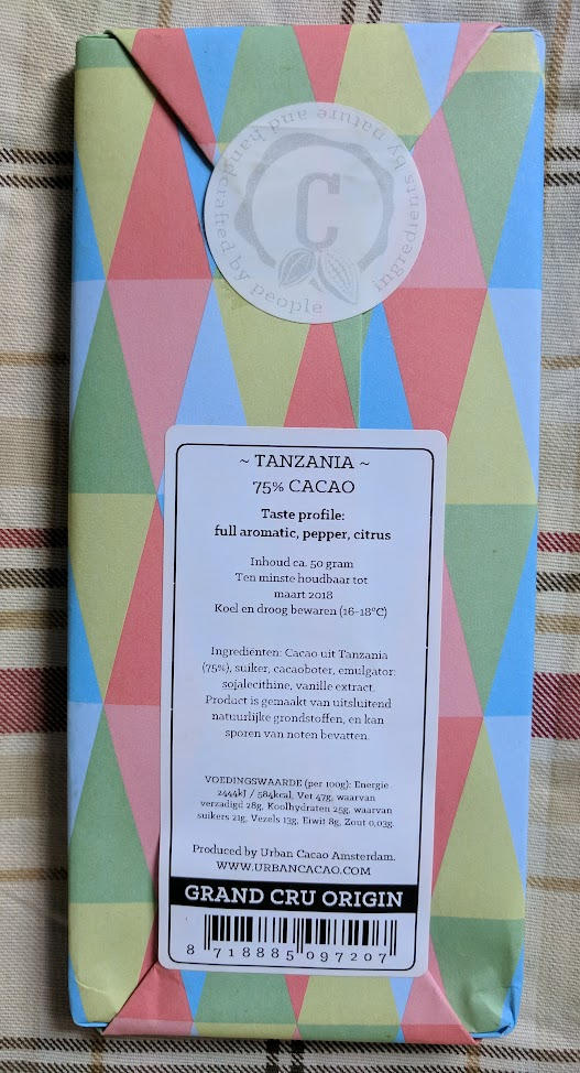 75% urban cacao tanzania bar back