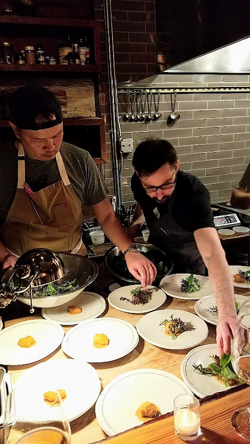 Langbaan PDX Chefs Who Inspire Dinner with Justin Woodward, First course of Dungeness crab, mussel jus, leeks, blank trumpet mushroom