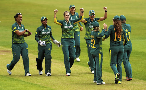 World best at World Cup:  SA's Dane van Niekerk, centre, celebrates the wicket of West Indies' Shanel Daley caught by Laura Wolvaardt, No14. Captain Van Niekerk took 4/0 as the Proteas cruised to victory by 10 wickets in Leicester on Sunday. Picture: REUTERS