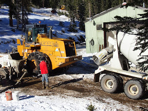 Photo: Getting the Cement Truck in place.