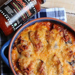 Low-Carb Eggplant Lasagna with Chicken Meat Sauce.