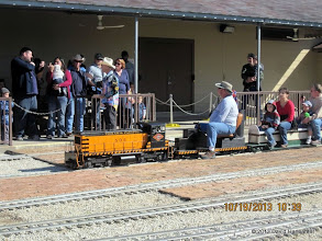 Photo: Rich Businger with his T&P 502 and station master Barry Tobias in the cowboy hat     HALS Run Day DH3