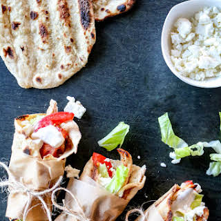 Chicken Flatbread Wraps with Spicy Tahini Yogurt Sauce.