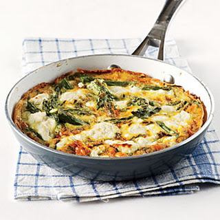 Herby Frittata with Vegetables and Goat Cheese.