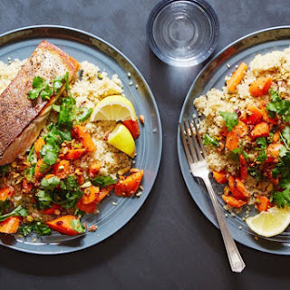 Crispy Skinned Salmon With Coriander Carrot Salad.