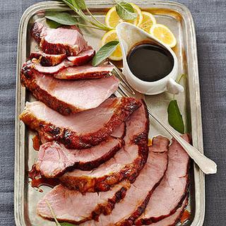Brown Sugar- and Whiskey- Glazed Ham.