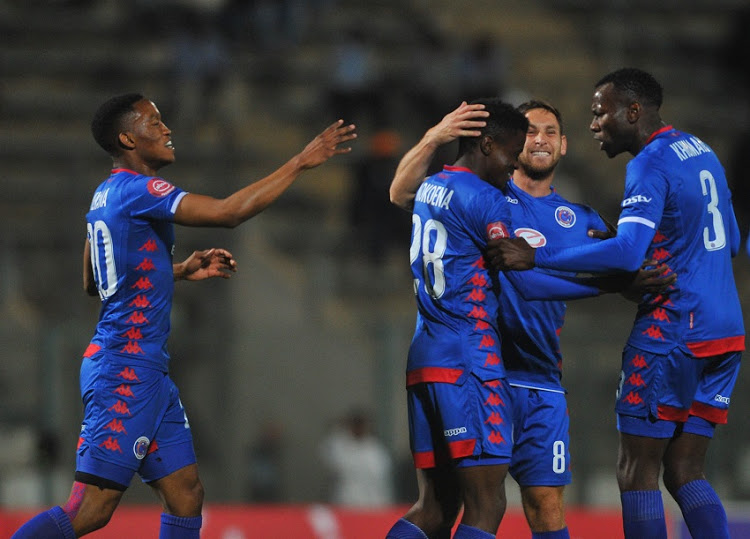 Teboho Mokoena of Supersport United celebrates a goal with teammates during the Absa Premiership match between Supersport United and Chippa United on the 29 August 2018 at Lucas Moripe Stadium.