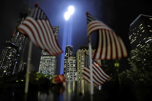 The Tribute in Light installation is illuminated over lower Manhattan, New York City, as seen from The National September 11 Memorial & Museum, marking the 17th anniversary of the 9/11 attacks, September 11 2018. Picture: REUTERS/ANDREW KELLY